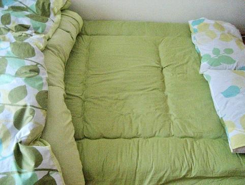 グリーンの布団カバーダブル