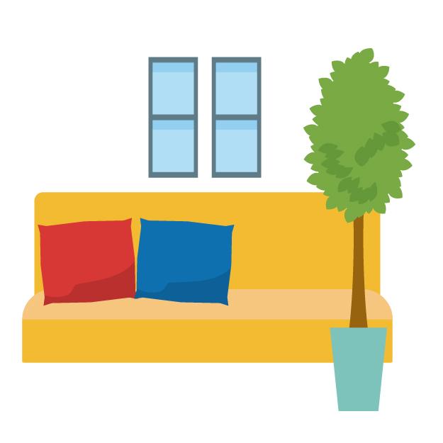雪国ミニマリスト家族(子供あり)のリビング。小さいアパートでも広々でゆっくりくつろげる